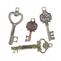 Assorted Metal Key Charms (12)